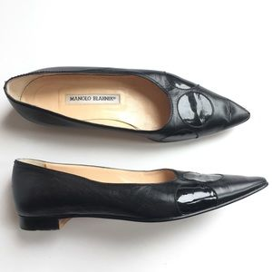 MANOLO BLAHNIK Pointy Toe Leather Flats Size 37.5